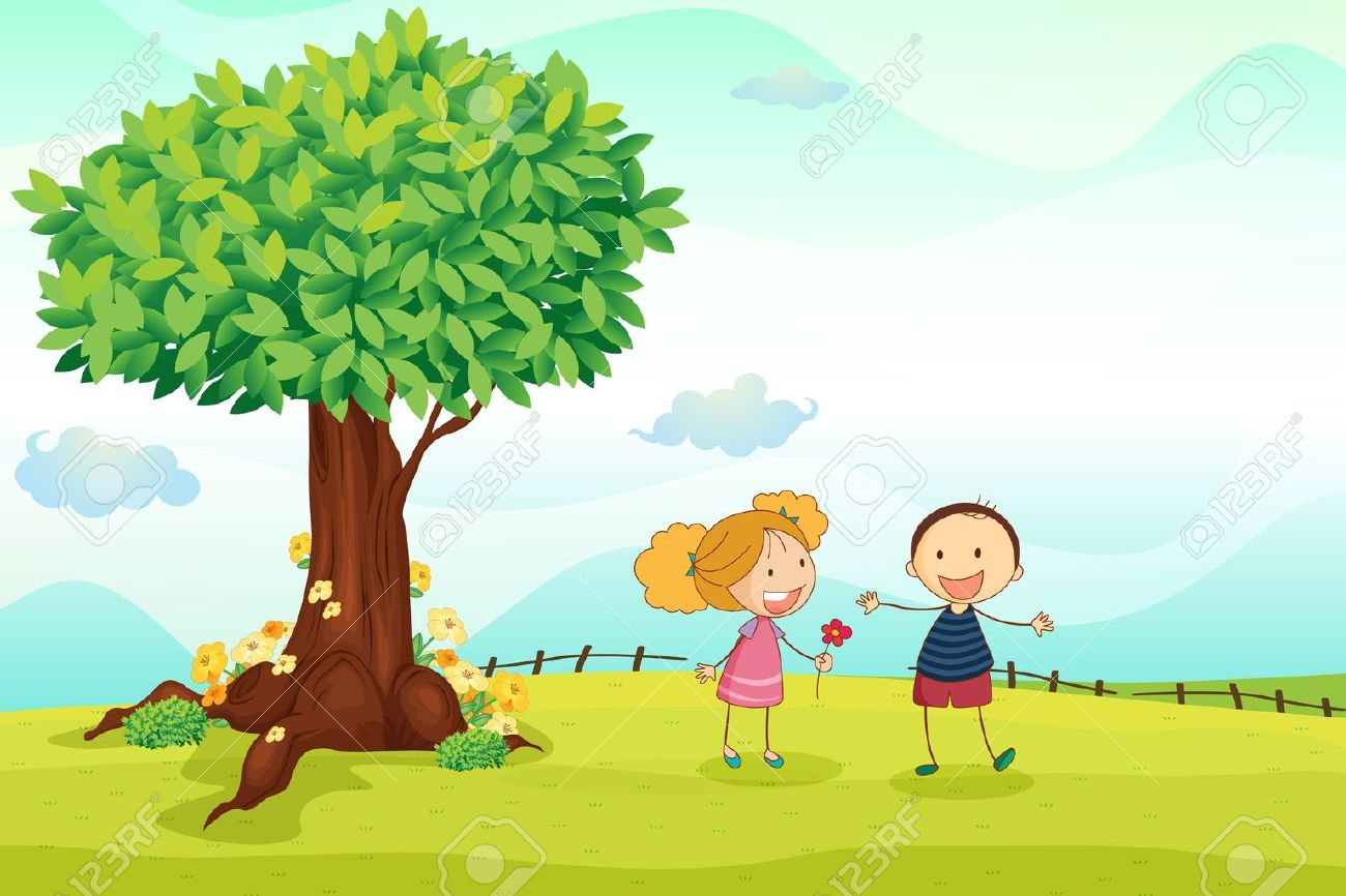 illustration of kids playing in the nature Stock Vector - 14891688