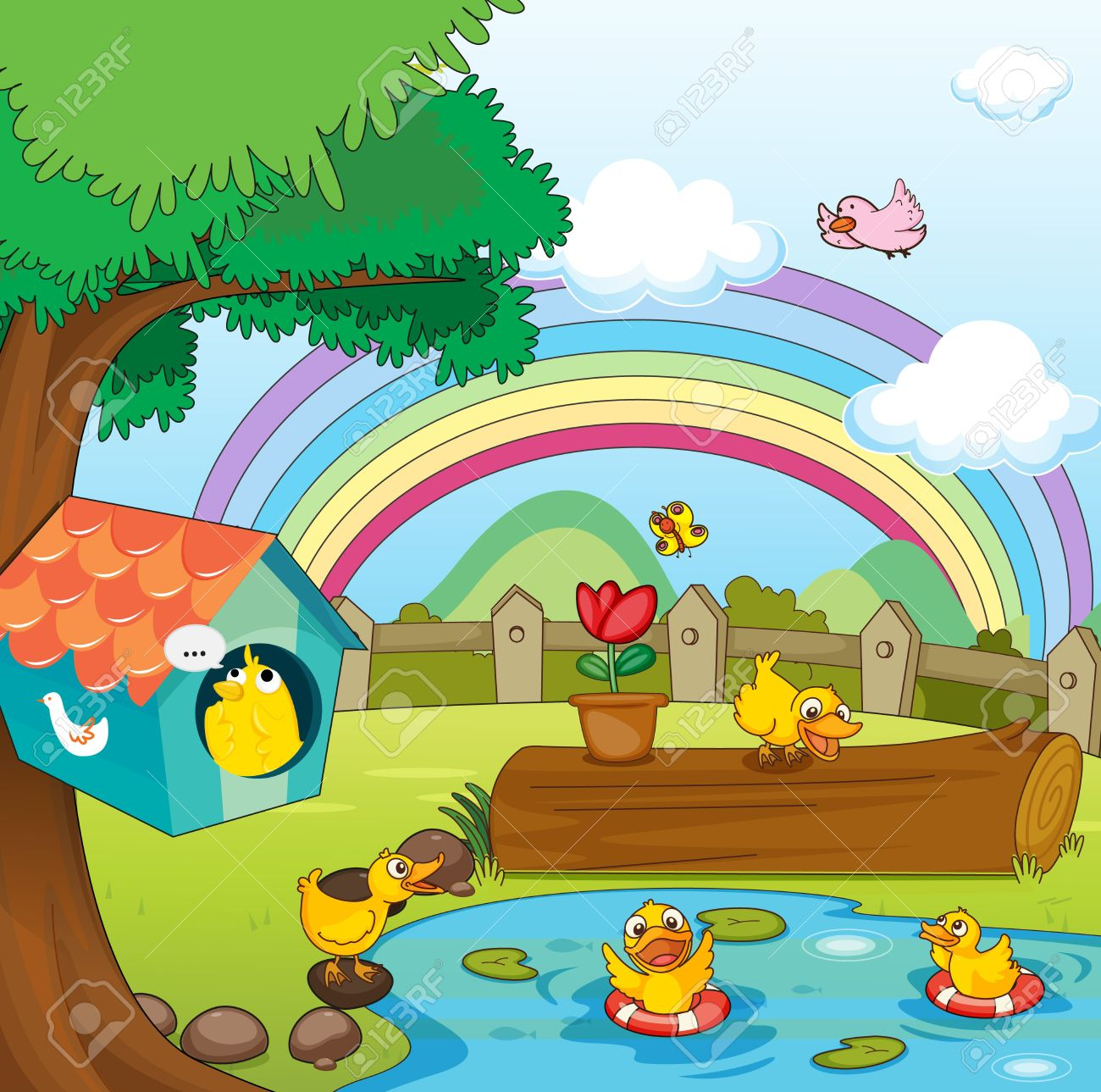 Illustration Of Birds In Beautiful Garden And Rainbow Stock Vector