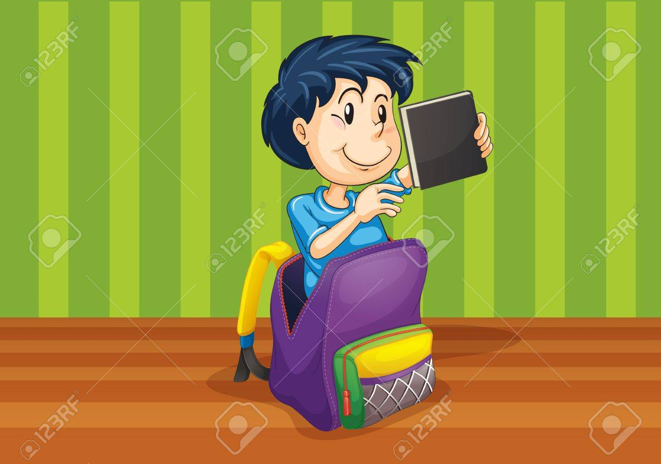 illustrtion of a boy in the bag on green background Stock Vector - 14922112
