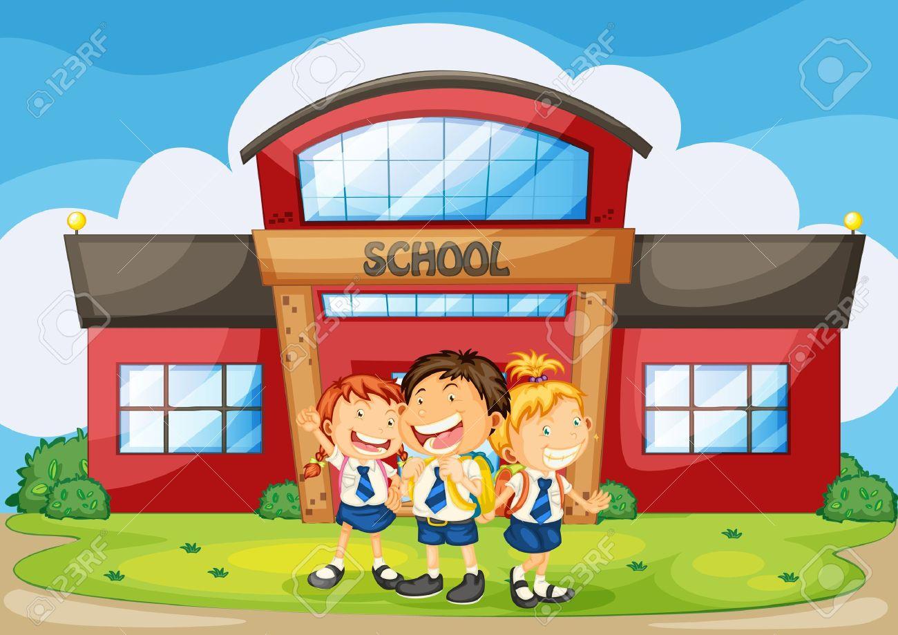 School building illustration of kids infront of school building