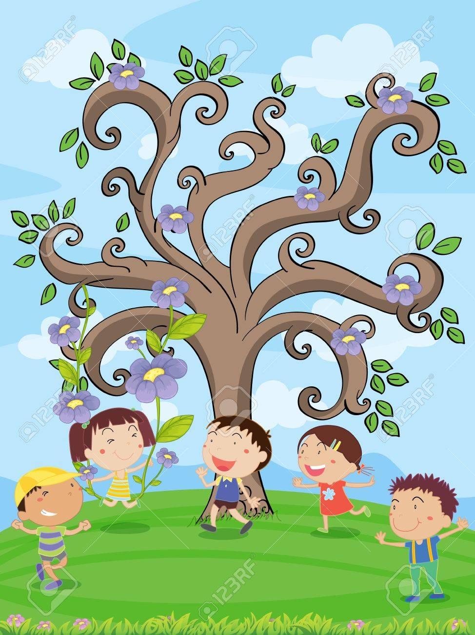 illustration of kids under a artistic tree Stock Vector - 14922713