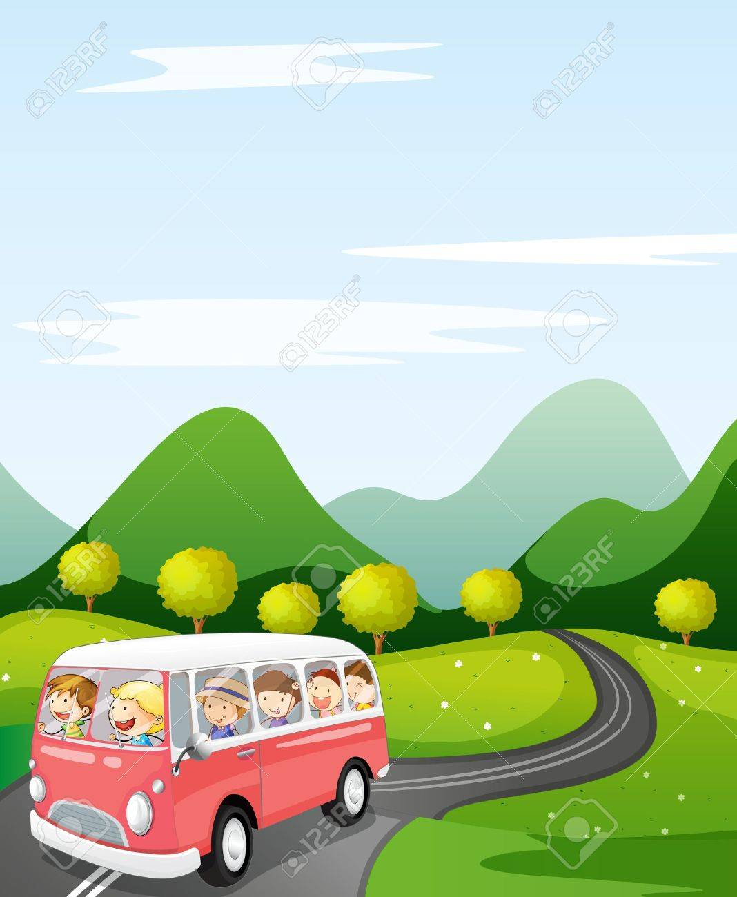 illustration of a kids in a bus in a beautiful nature Stock Vector - 14922812