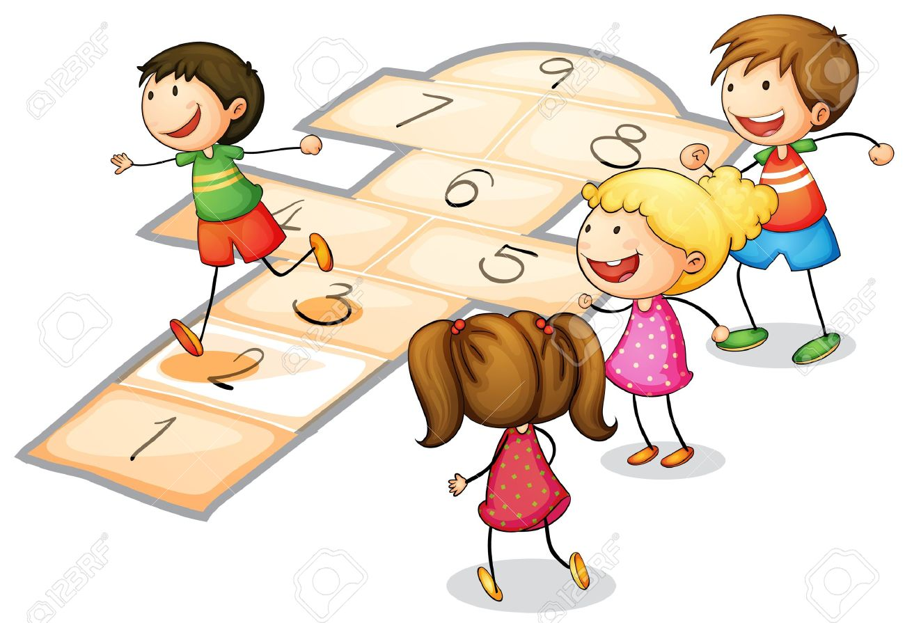illustration of a kids playing a number game - 14922717