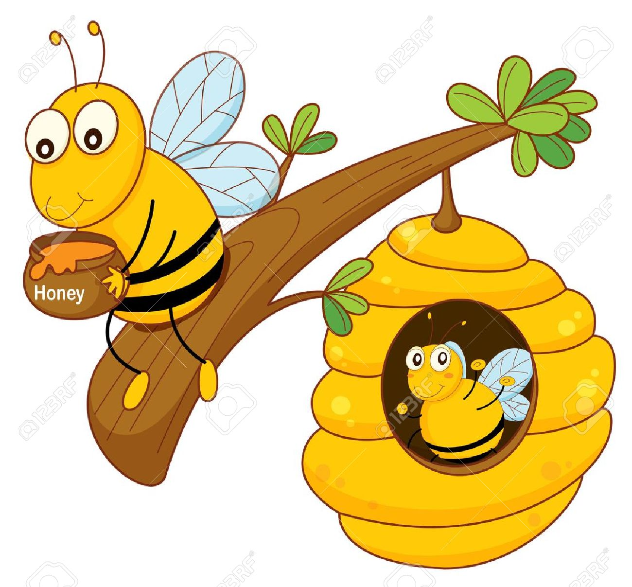 illustration of a honey bee and comb on white royalty free