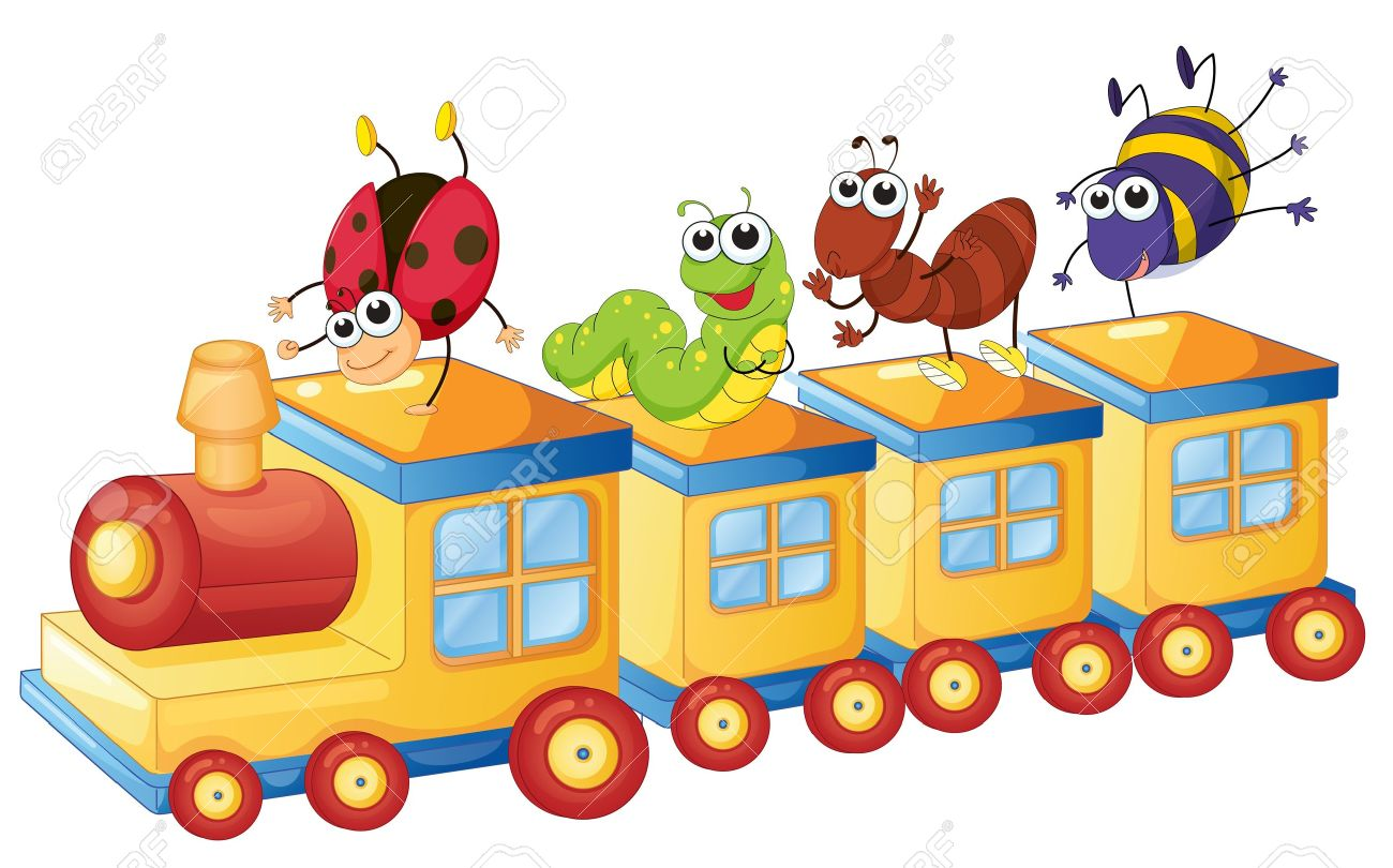 illustration of a various insects on a toy train Stock Vector - 14922382