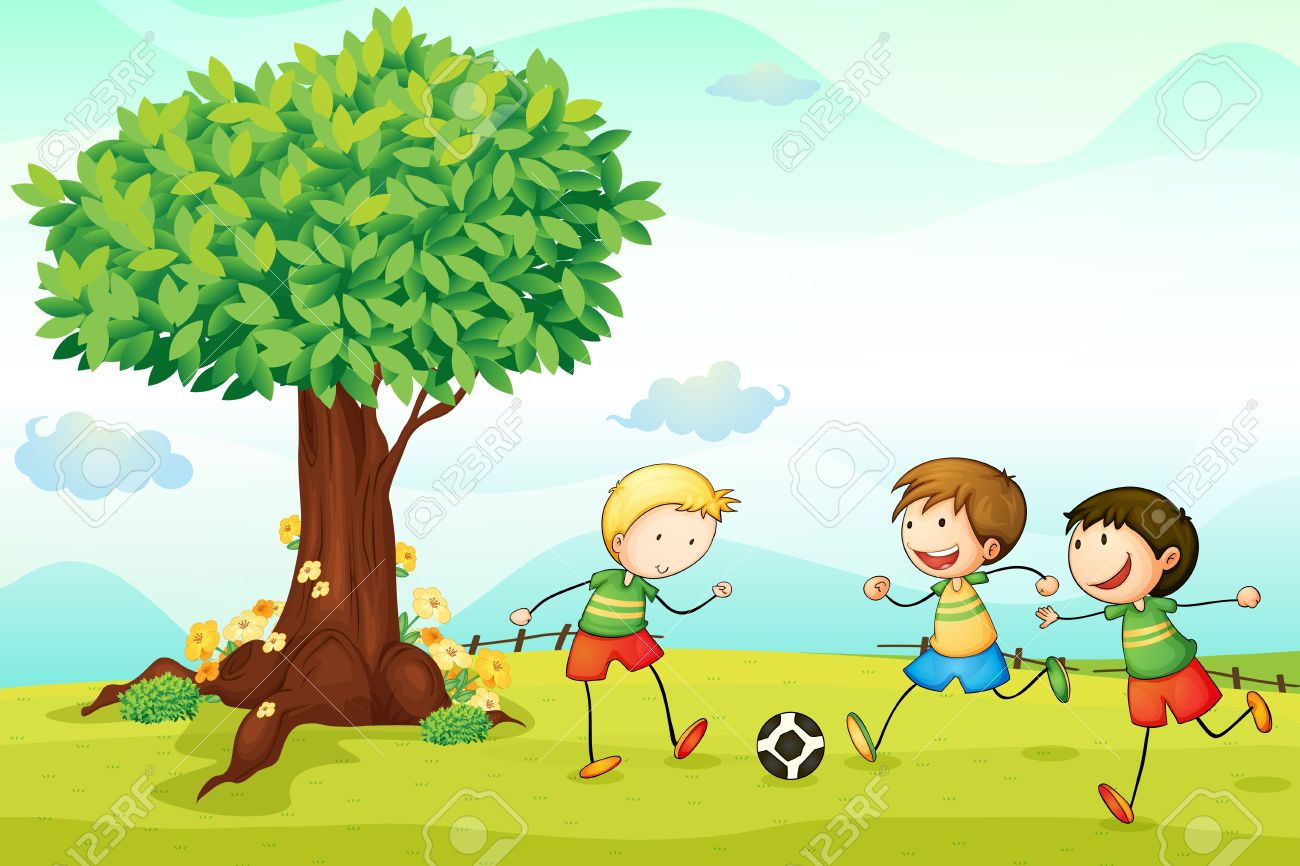 illustration of kids playing football in a nature Stock Vector - 14922819