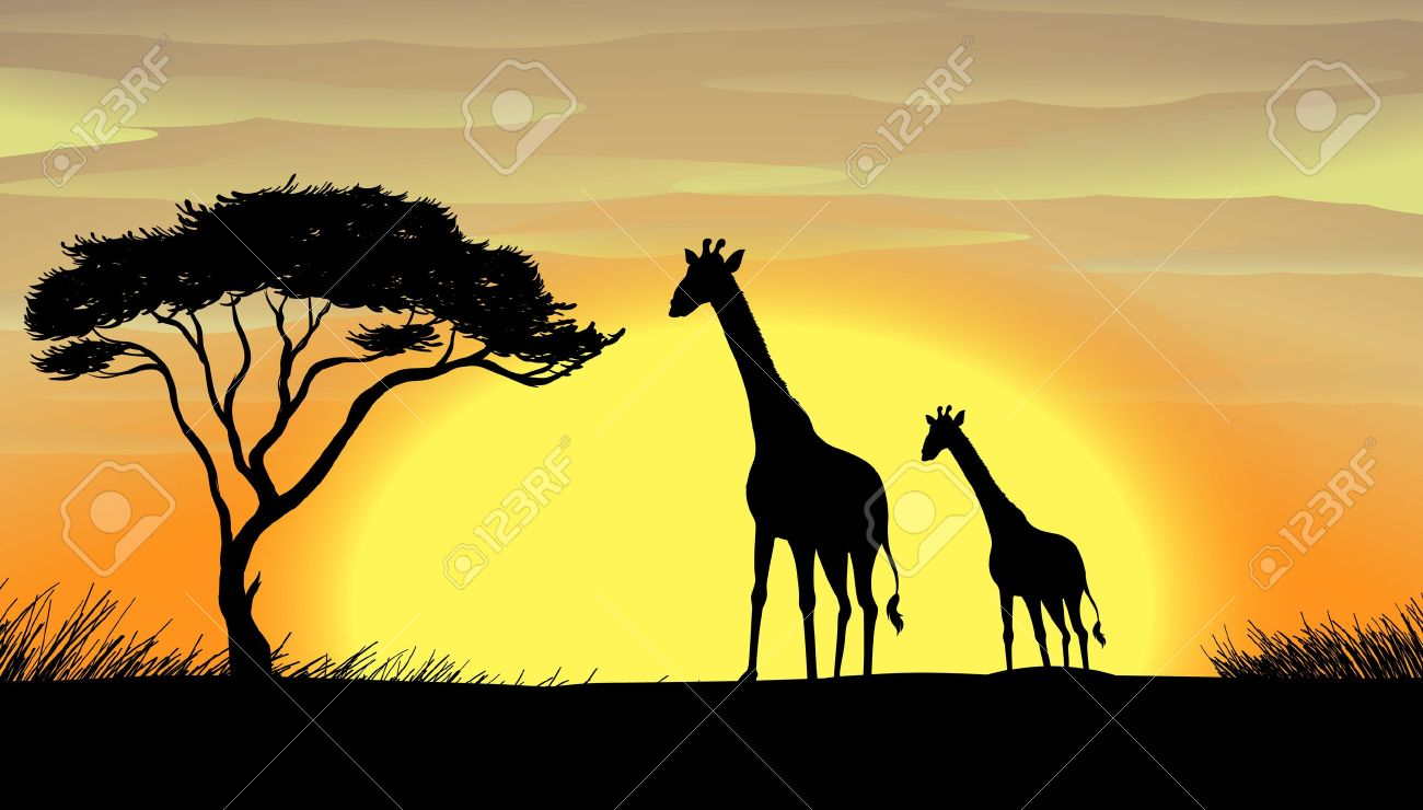 illustration of giraffe in a beautiful nature royalty free