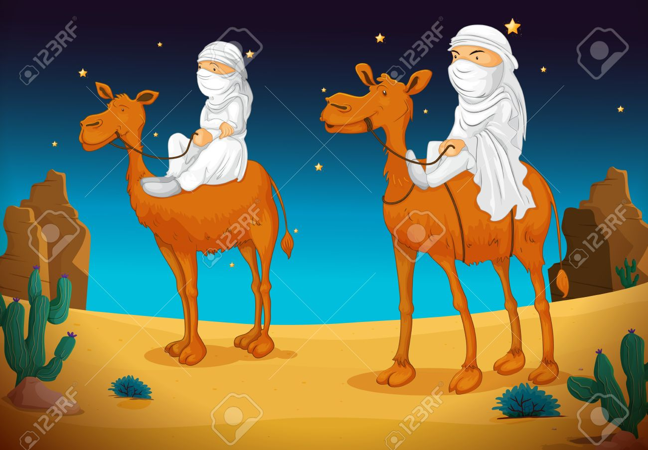 illustration of a two arabs on camel Stock Vector - 14923215