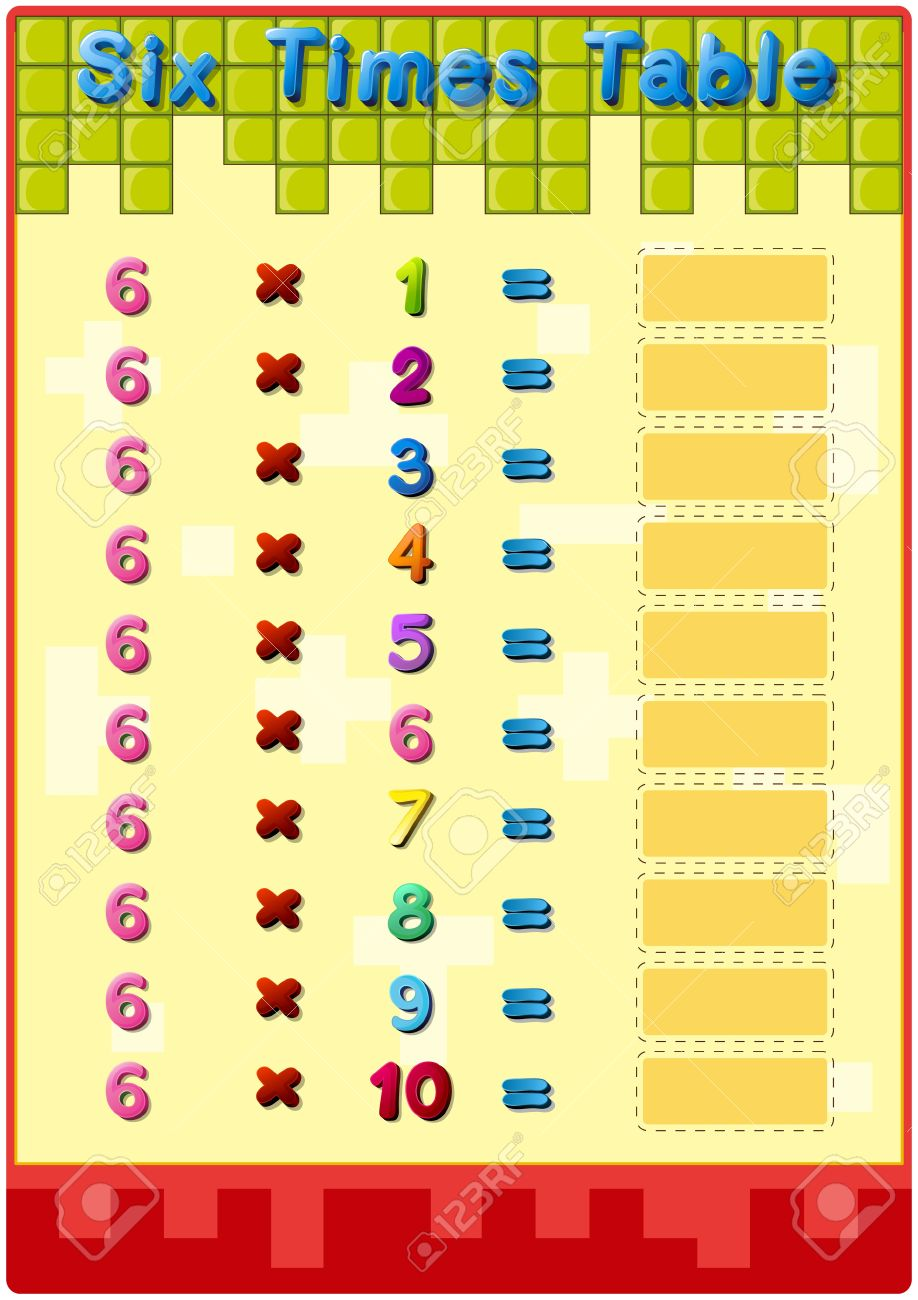 Worksheet Of The 6 Times Tables Royalty Free Cliparts Vectors – 6 Times Table Worksheet