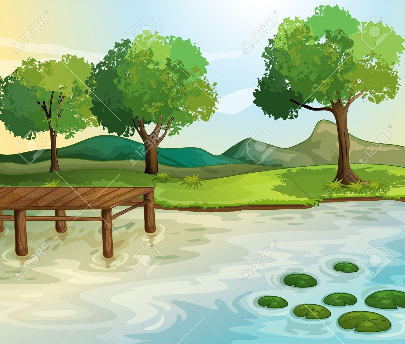 Illustration of a lake scene Stock Vector - 14923213