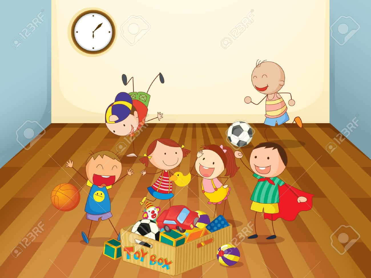 illustration of kids playing in a room Stock Vector - 14922912
