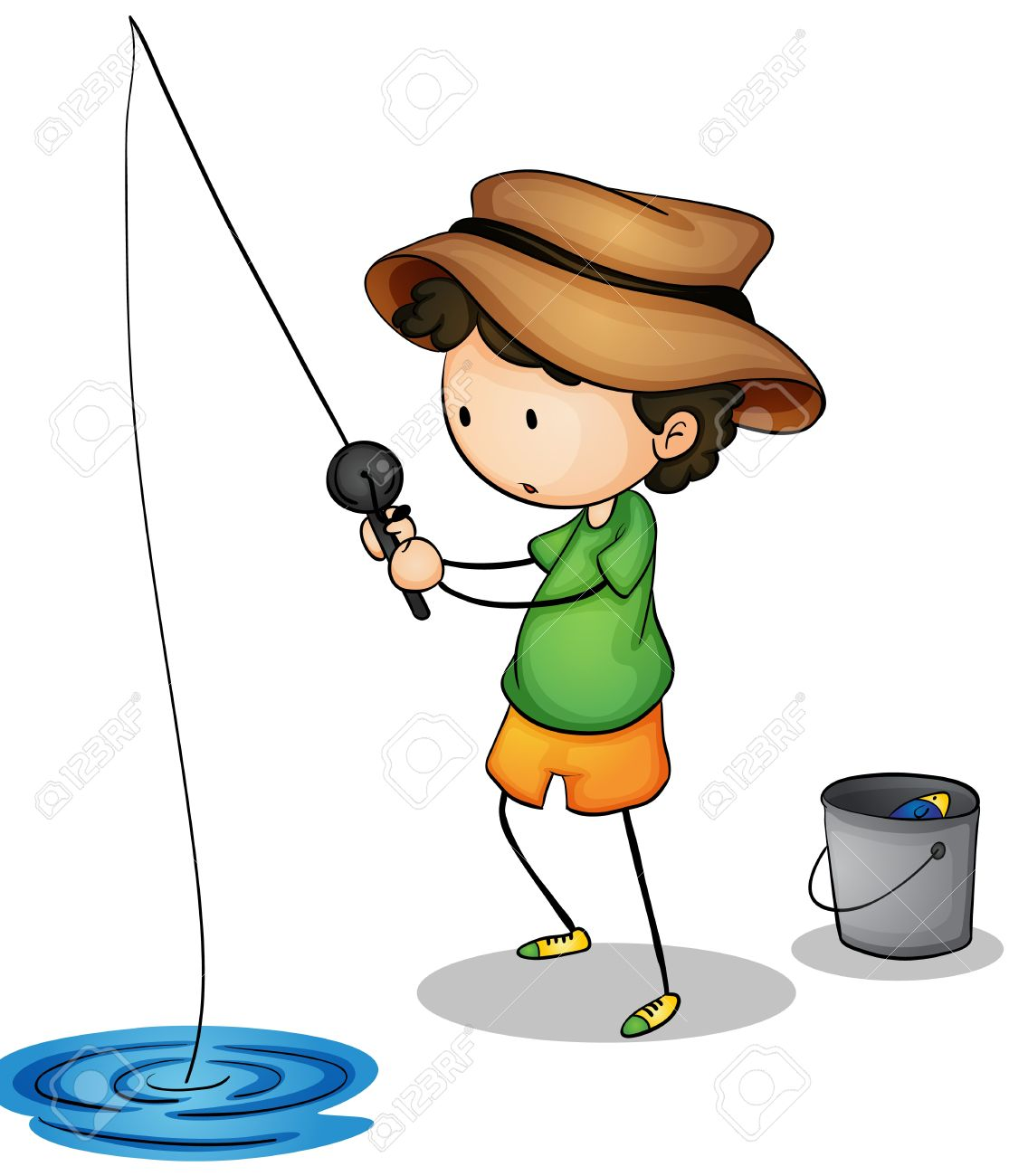 Illustration of a young fisherman Stock Vector - 14990002