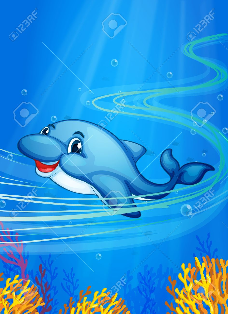 Illustration of a dolphin swimming Stock Vector - 14990011