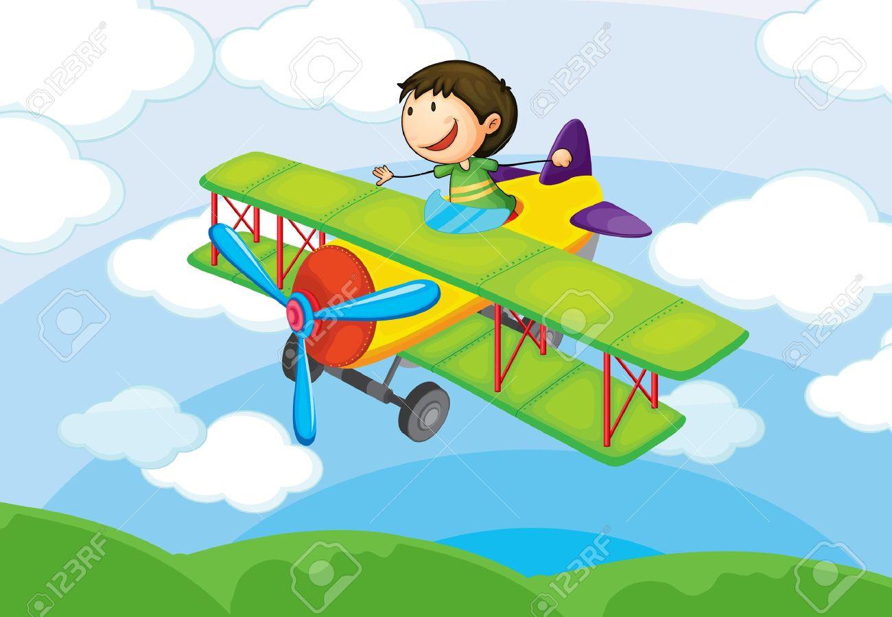 Мальчик на самолете рисунок