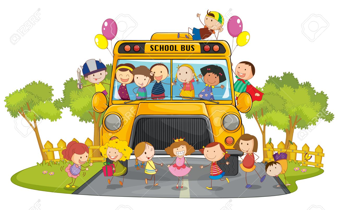 illustration of kids and school bus in nature Stock Vector - 15028598