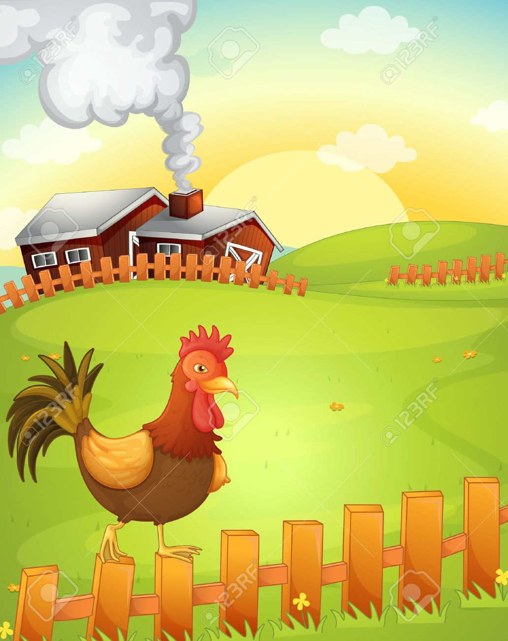 illustration of a cock in the farm Stock Vector - 15028605