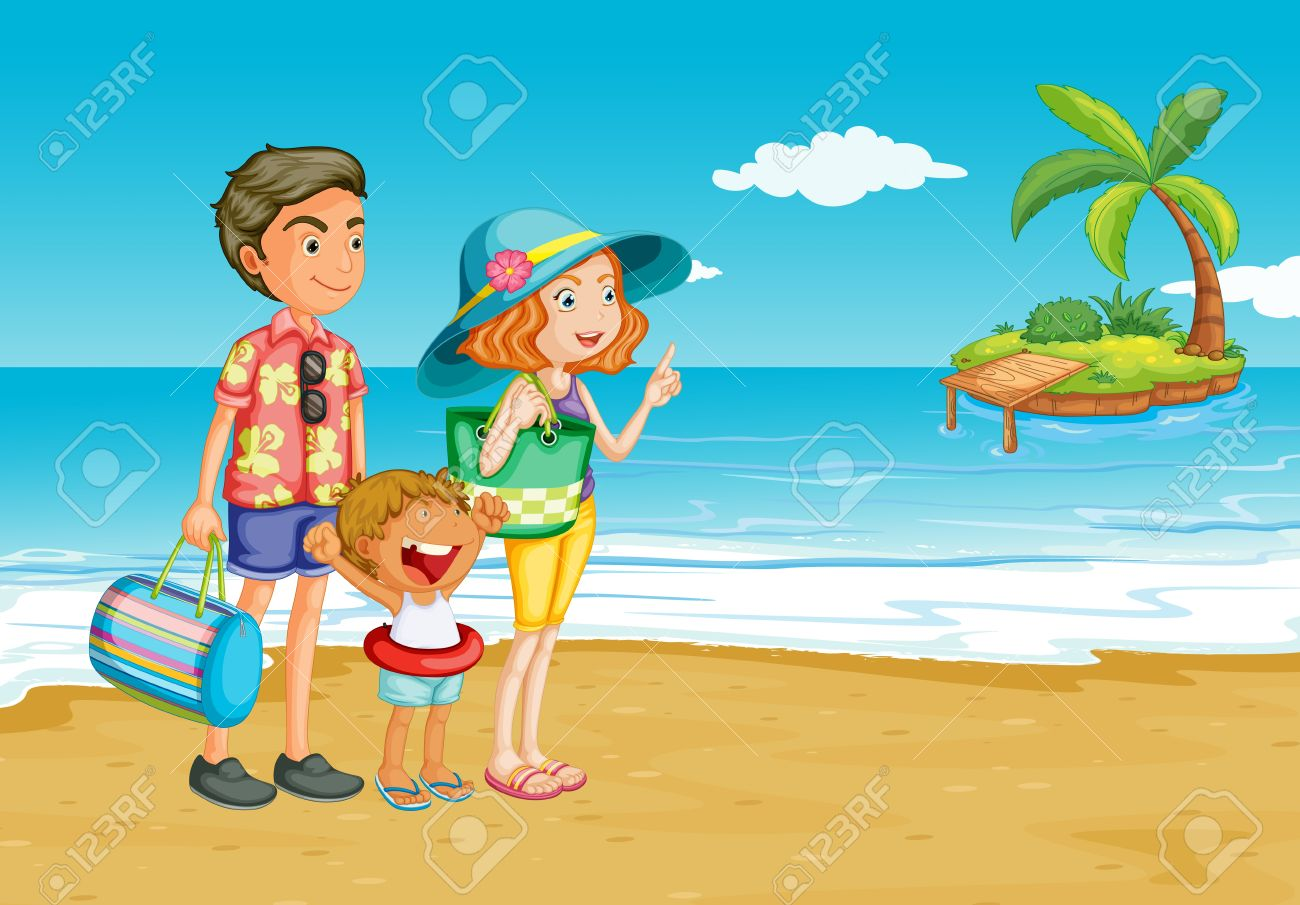Family Beach Clipart Outing To The Stock Vector 15029099 L