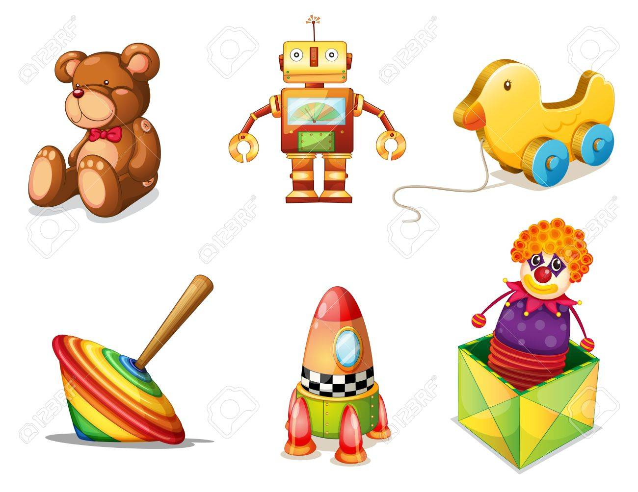 illustration of various toys on a white background Stock Vector - 15250170