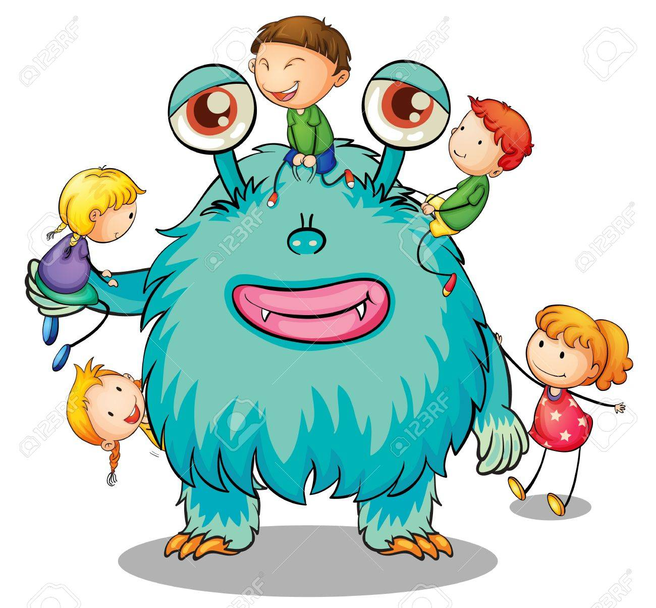 Uncategorized Monster Pictures For Kids illustration of kids playing with monster on white royalty free stock vector 15249997