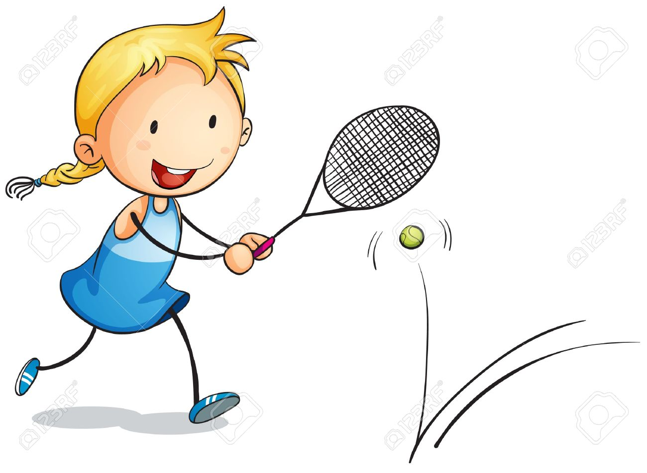 illustration of a girl playing tennis on a white Stock Vector - 15250107