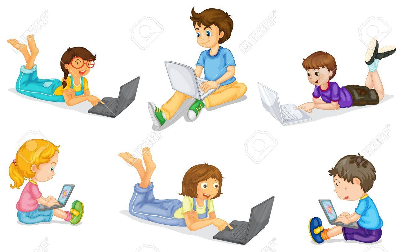 illustration of a kids with laptop on a white Stock Vector - 15250145