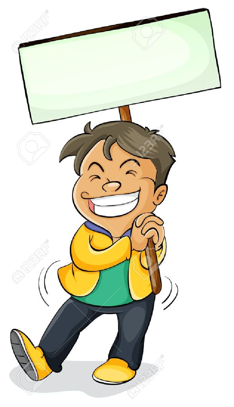 illustration of a boy holding a board on a white Stock Vector - 15250043