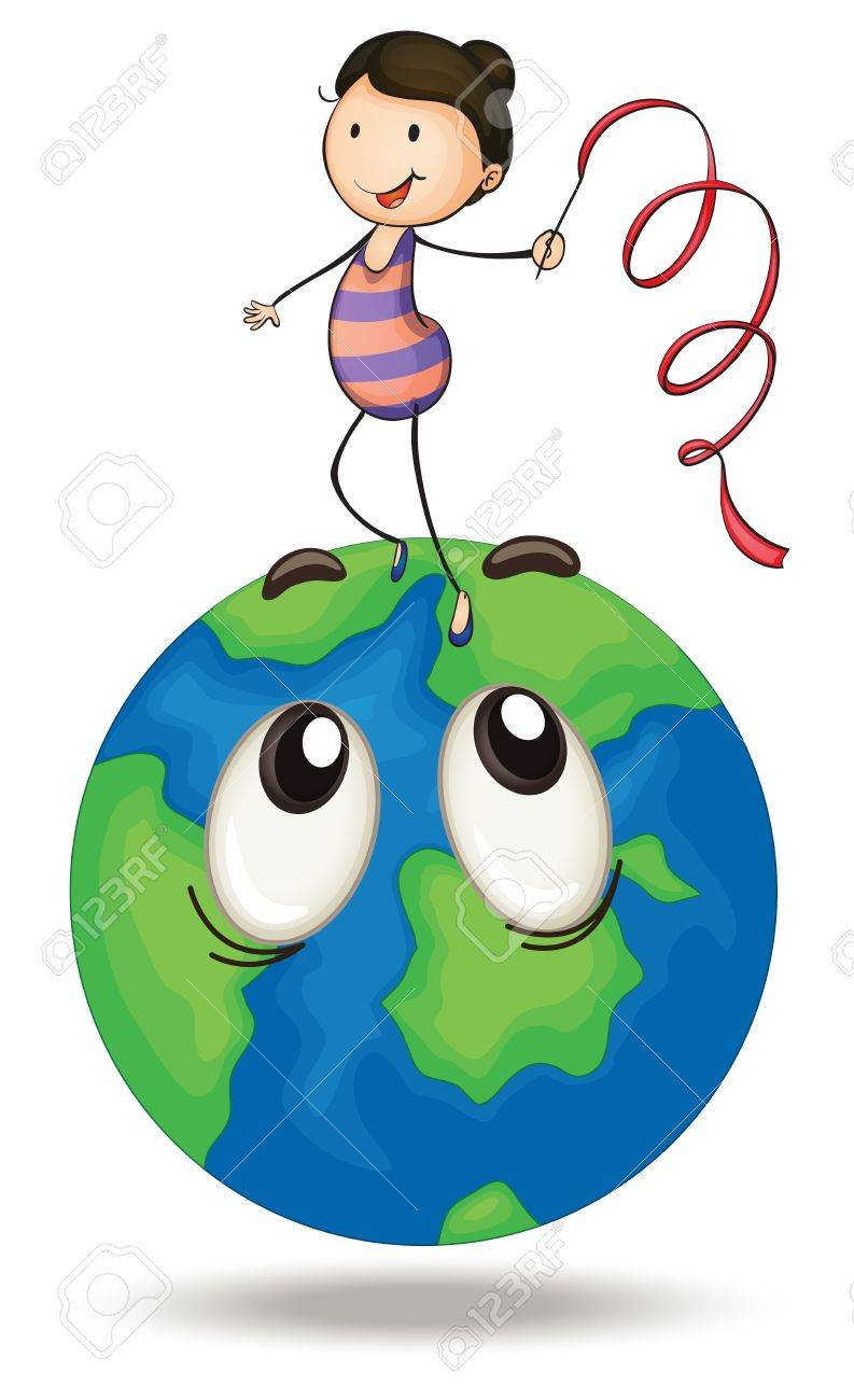 illustration of a girl playing on earth on a white Stock Vector - 15250050