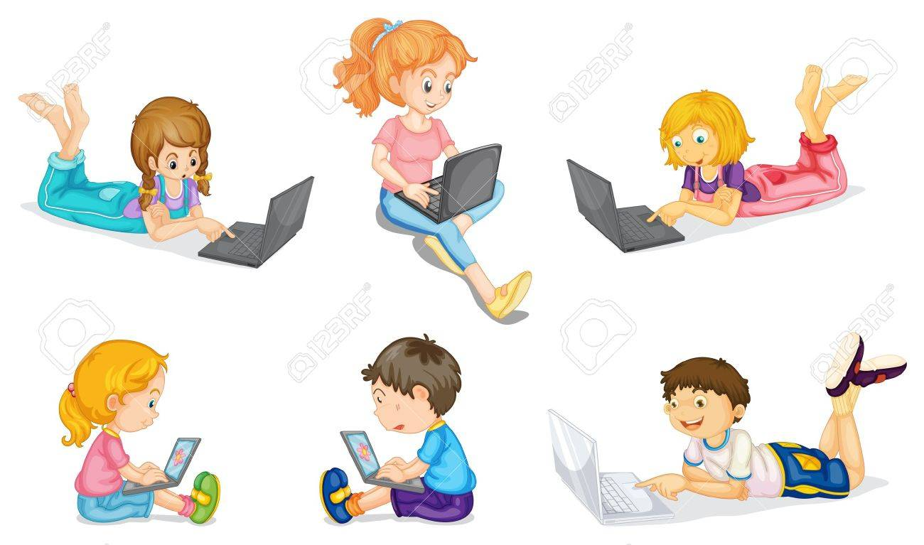 illustration of a kids with laptop on a white Stock Vector - 15328571