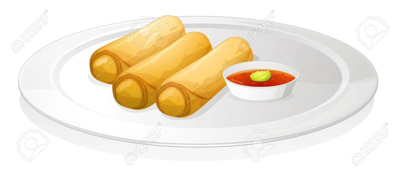 ロールパンと白い背景の上のソースのイラストのイラスト素材ベクタ
