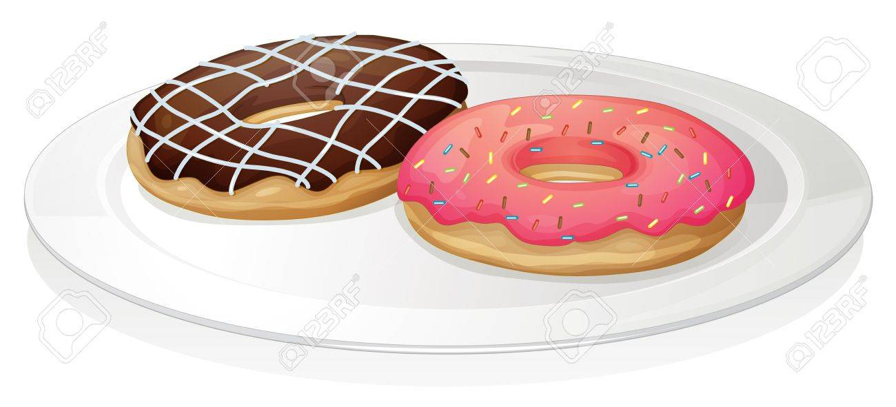 illustration of a donut in plate on a white background Stock Vector - 15337938
