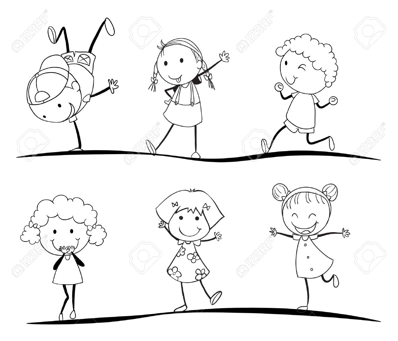 vector kids activity sketches on a white background - Kids Sketches