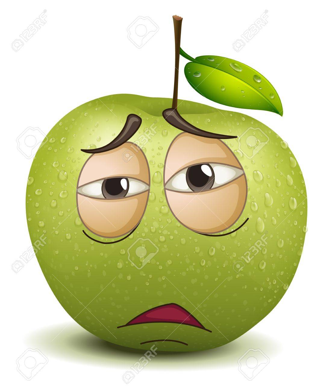 illustration of a sad apple smiley on a white background Stock Vector - 15378878