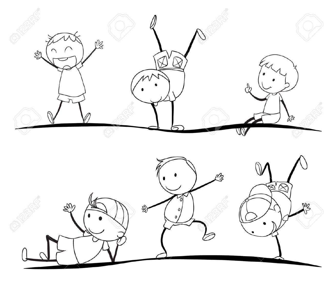 vector illustration of kids sketches on a white background - Kids Drawing Sketches