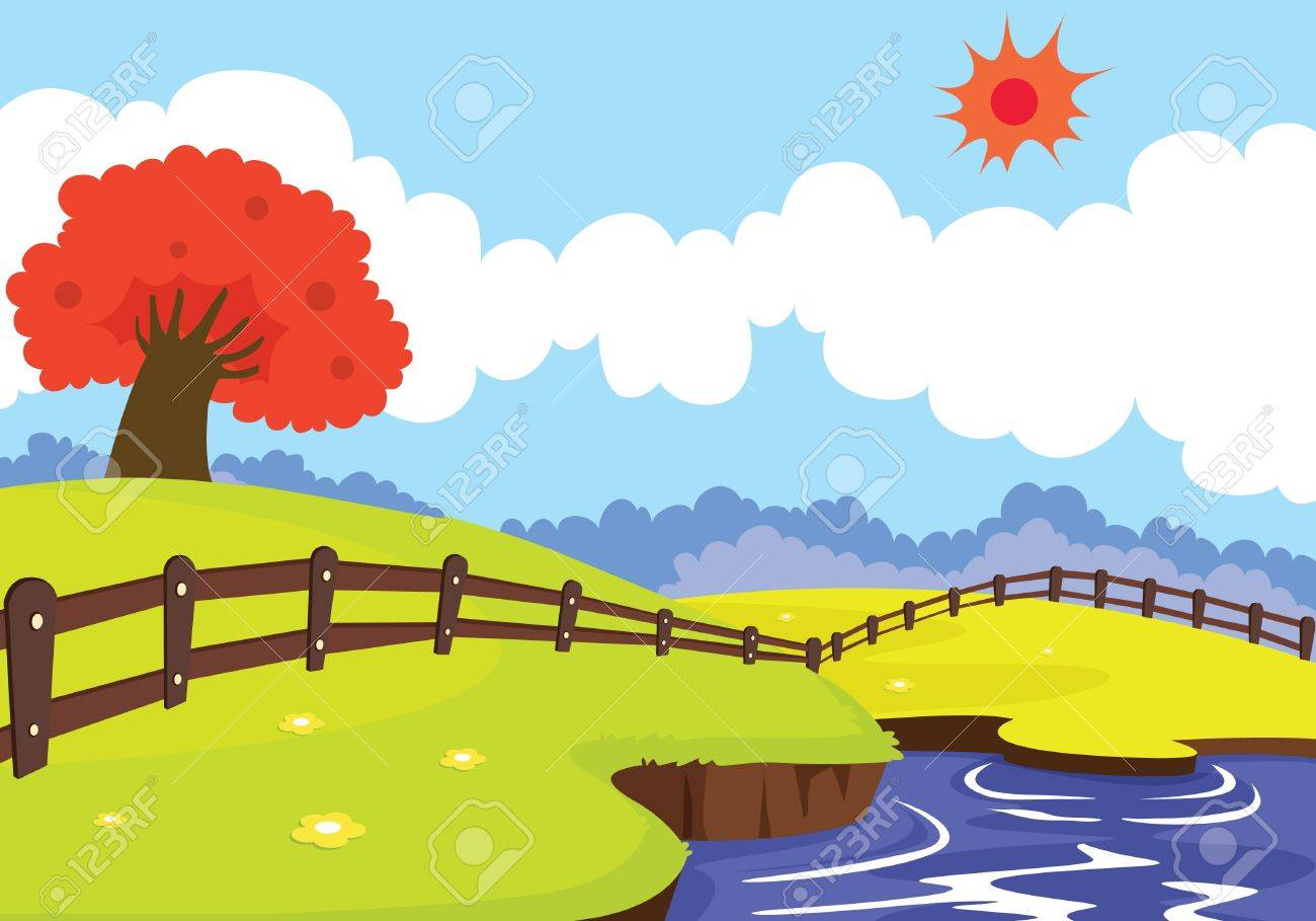 illustration of a beautiful landscape and red tree Stock Vector - 15401865