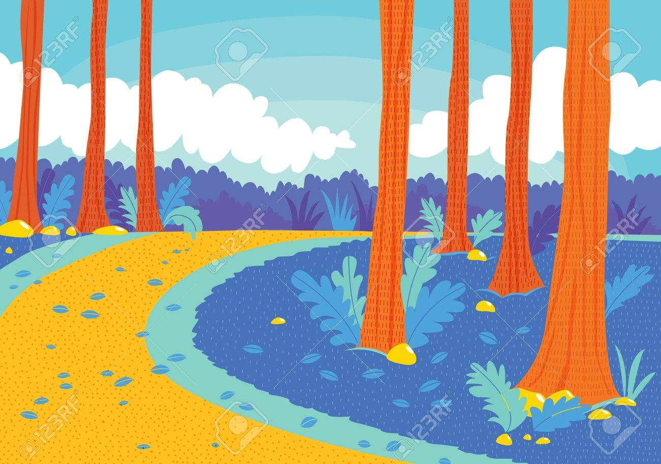 illustration of a beautiful road in woods Stock Vector - 15401888
