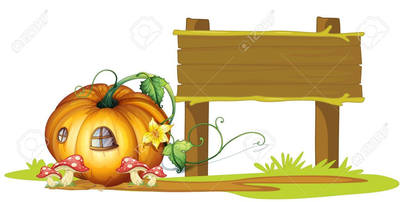 illustration of board and pumpkin house on white Stock Vector - 15403199