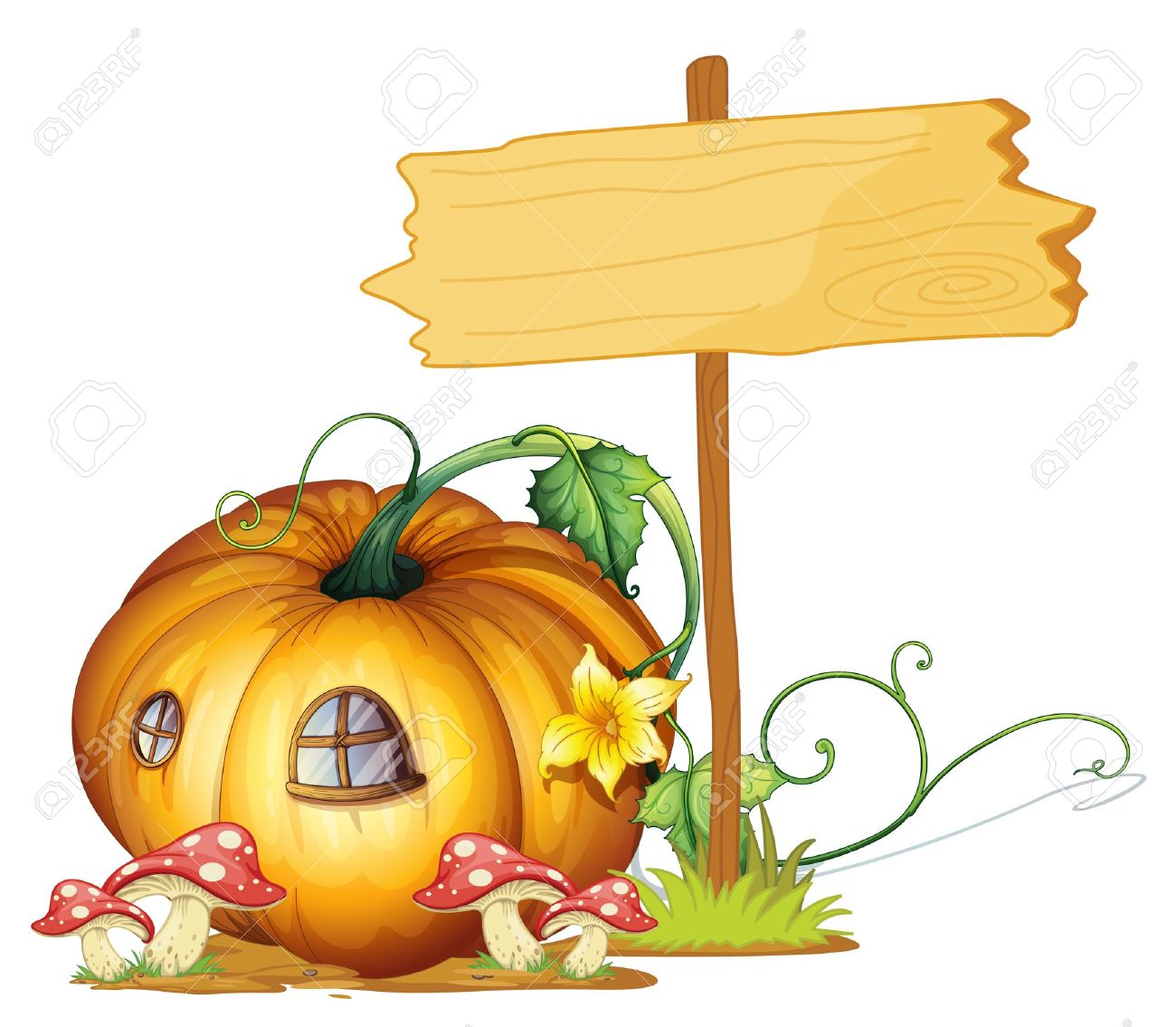 illustration of a board and pumpkin house on white Stock Vector - 15404096