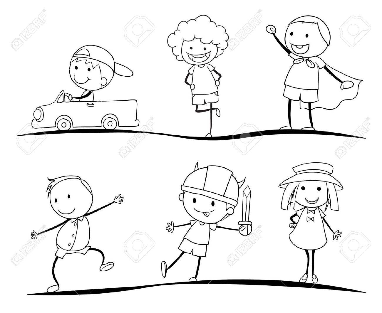 illustration of a scetches of kids on a white background Stock Vector - 15423314