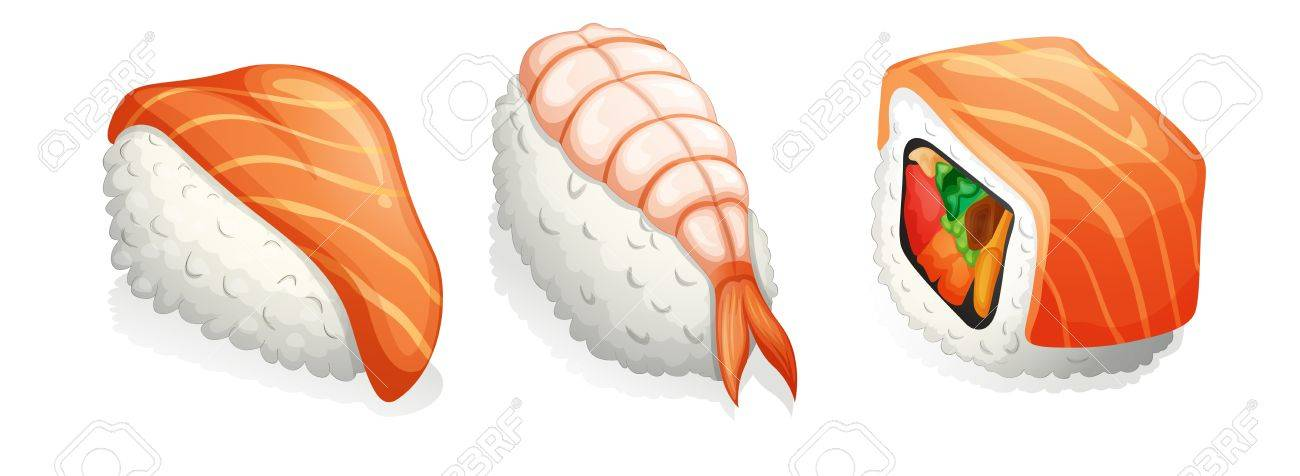illustration of assorted sushi on a white background Stock Vector - 15423336