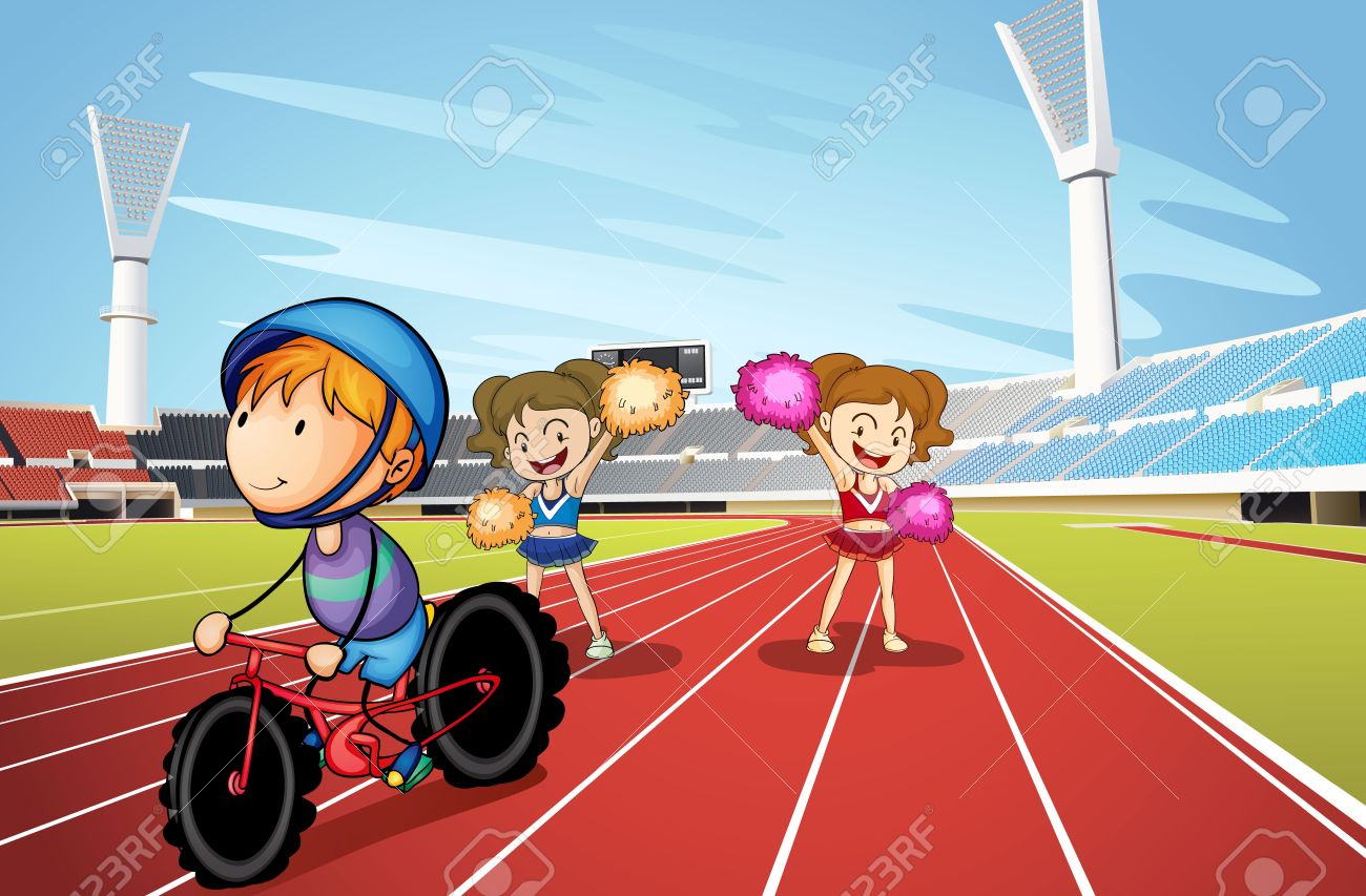 illustration of kids and race track in a stadium Stock Vector - 15423347