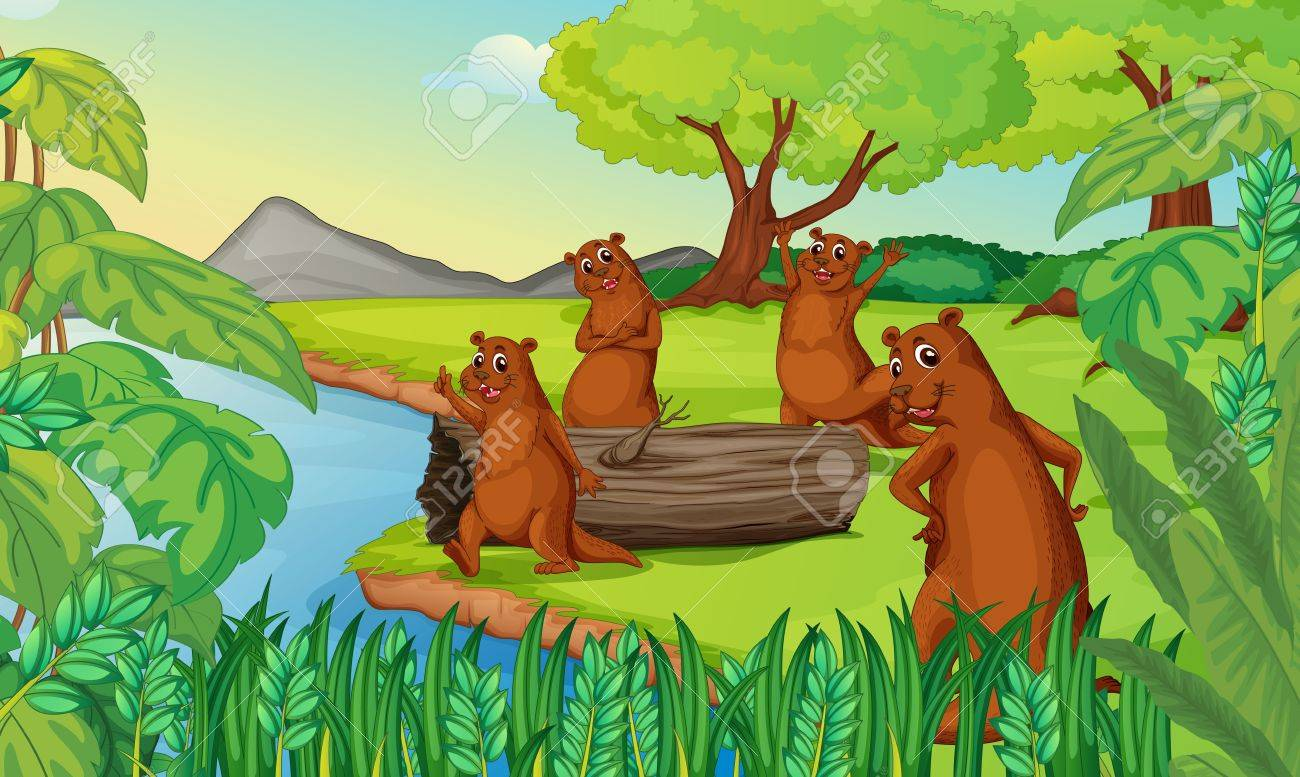 illustration of otters in a beautiful nature Stock Vector - 15423344