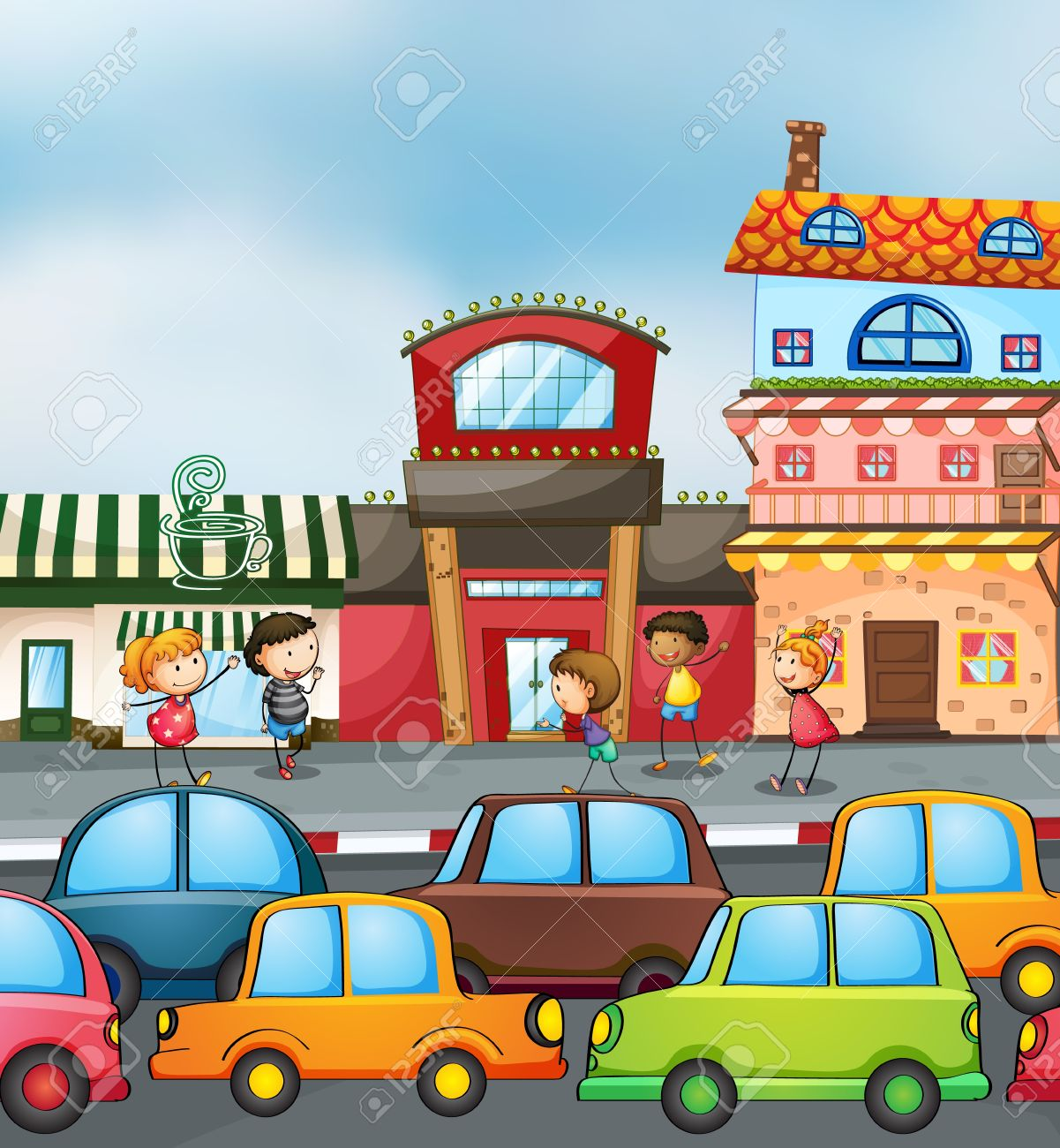 Illustration Of Cars And Kids On The Road Stock Vector