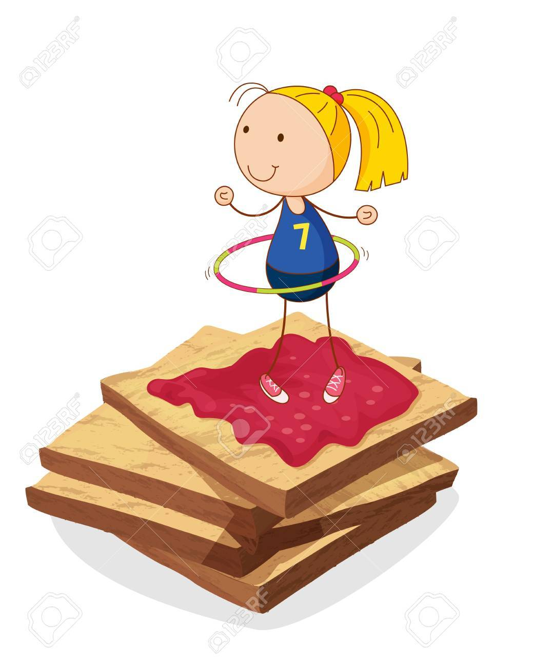 illustration of girl and bread on a white background Stock Vector - 15444766