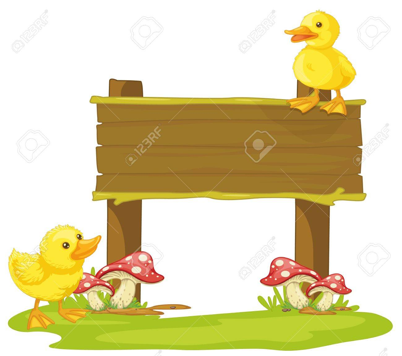 illustration of a board and duck on a white background Stock Vector - 15444719