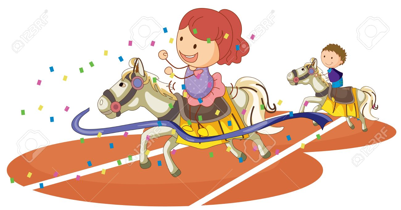illustration of kids and horse on a white background Stock Vector - 15444722