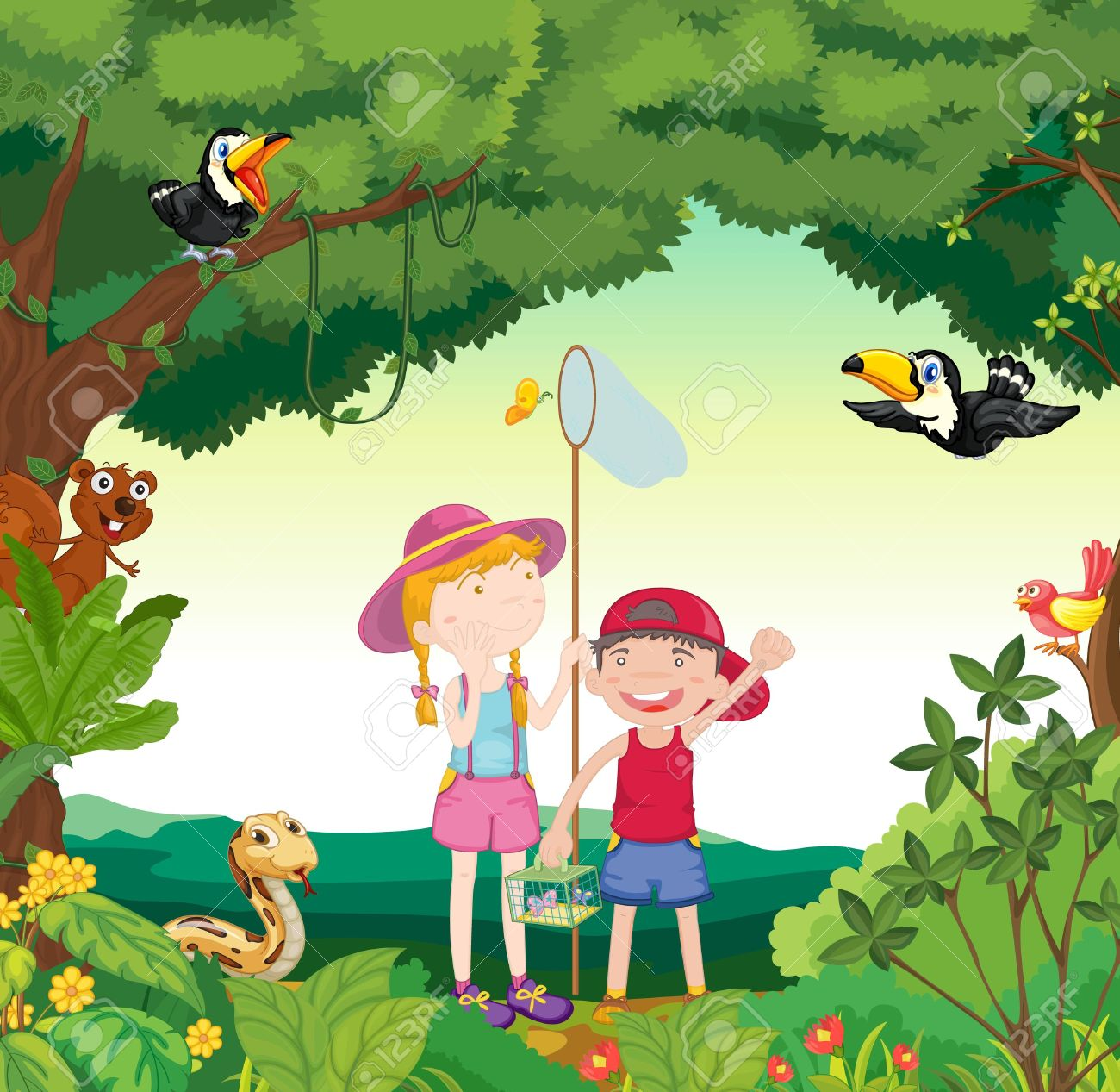 illustration of animals birds and kids in a beautiful nature
