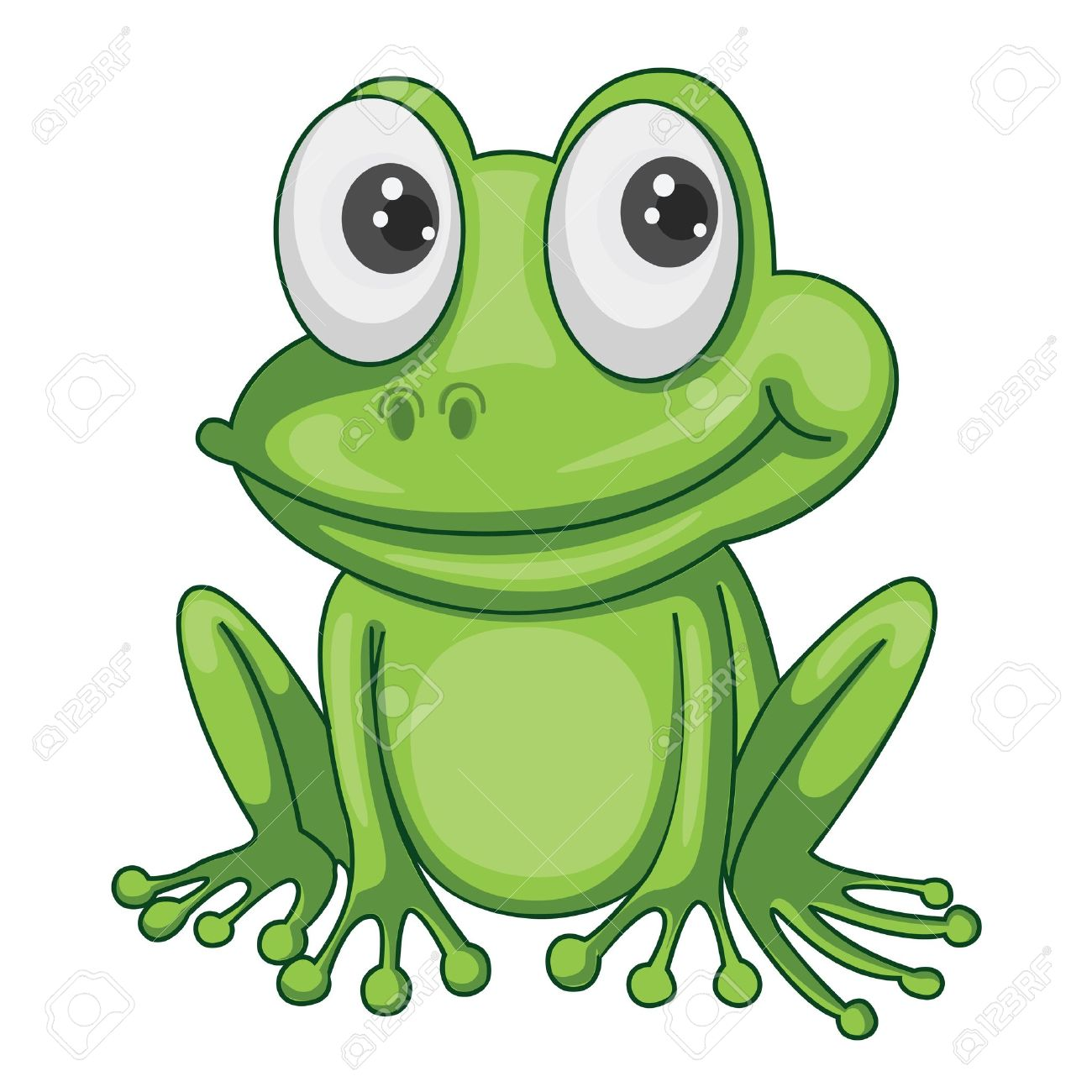 illustration of green frog on a white background royalty free