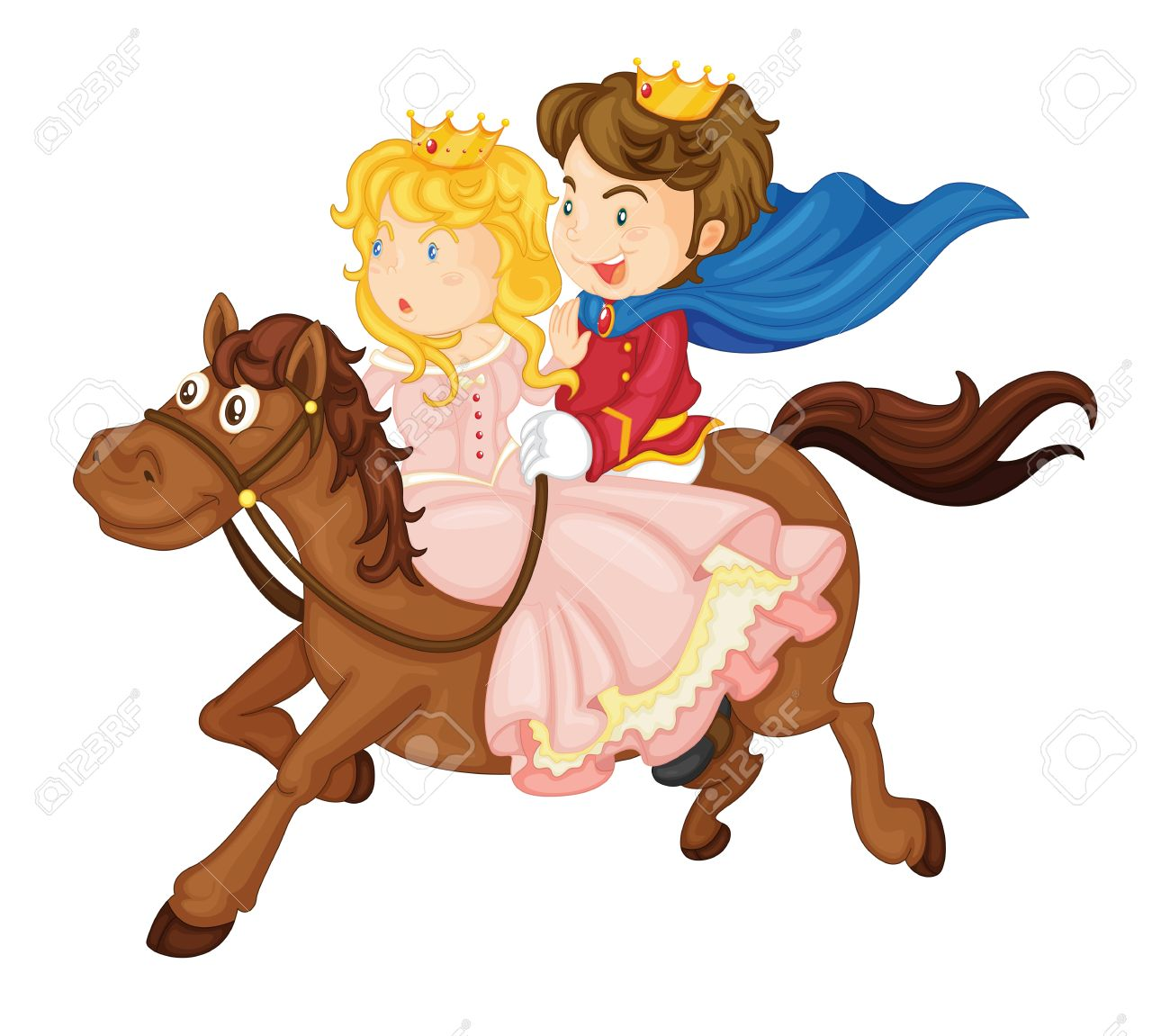 Illustration Of King And Queen Riding On A Horse On A White Royalty Free Cliparts Vectors And Stock Illustration Image 15480621