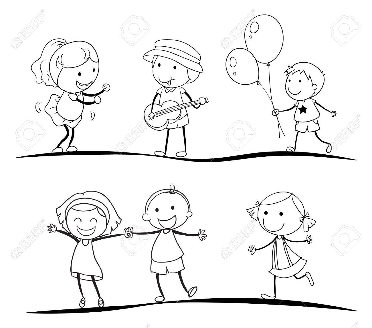 vector illustration of a sketches of kids on a white background - Sketches Of Kids
