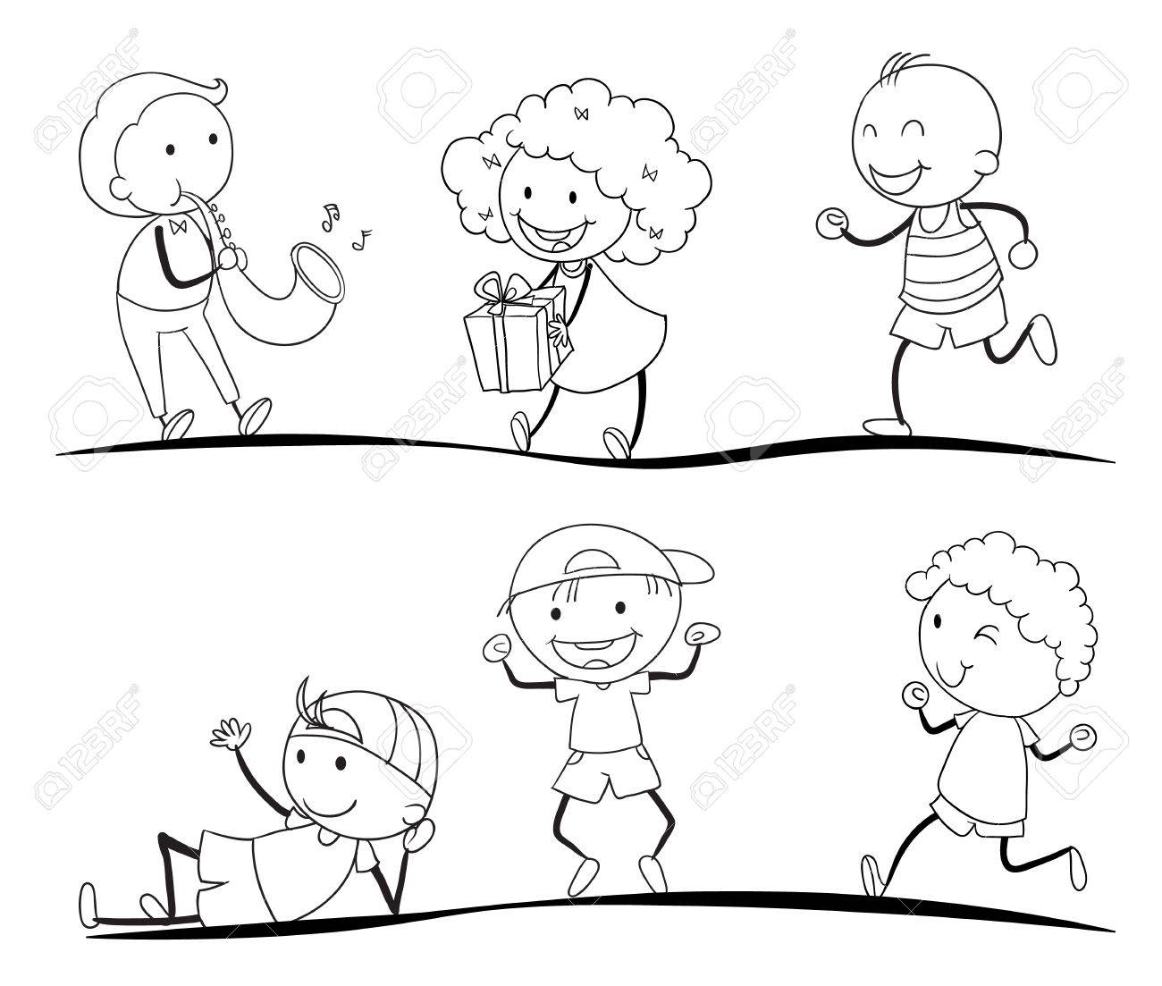vector illustration of a sketches of kids on a white background - Kids Sketches